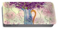 Portable Battery Charger featuring the painting Vintage Blue Flower Bouquet by Cathie Richardson