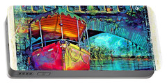 Vintage Boat Reflections Water Bridge Udaipur City Of Lakes Rajasthan India 1a Portable Battery Charger