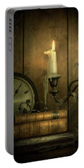 Vintage Books With Candles And An Old Clock Portable Battery Charger