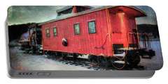 Portable Battery Charger featuring the photograph Vintage Caboose - Winter Train by Joann Vitali