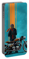 Portable Battery Charger featuring the painting Vintage Cafe Racer  by Sassan Filsoof