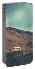 Vintage Camper Van In The Wilderness Portable Battery Charger