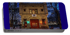 Vintage Chicago Firehouse With Xmas Lights And W Flag Portable Battery Charger