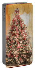 Portable Battery Charger featuring the photograph Vintage Christmas Tree In Classic Crimson Red Trim by Shelley Neff
