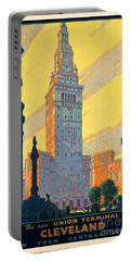 Vintage Cleveland Travel Poster Portable Battery Charger by George Pedro