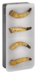 Portable Battery Charger featuring the photograph Vintage 1767 Colonial American Powder Horn Four Views by John Stephens