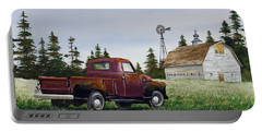 Portable Battery Charger featuring the painting Vintage Country Pickup by James Williamson