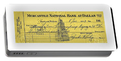 Portable Battery Charger featuring the drawing Vintage Dallas Bank Check Signed By Jack Ruby Killer Of Lee Harvey Oswald by Peter Gumaer Ogden