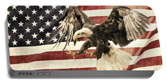 Portable Battery Charger featuring the photograph Vintage Flag With Eagle by Scott Carruthers