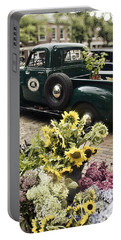 Vintage Flower Truck-nantucket Portable Battery Charger by Tammy Wetzel