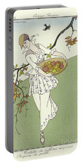 Vintage French Fashion Plate  Girl Picking Apples Portable Battery Charger