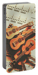 Vintage Guitars On Music Sheet Portable Battery Charger