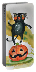 Vintage Halloween Cat Portable Battery Charger