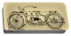 Vintage Harley-davidson Motorcycle 1919 Patent Artwork Portable Battery Charger