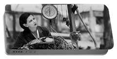 Vintage Holiday Card   Woman Weighing A Turkey Ahead Of The Holidays Portable Battery Charger