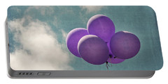 Vintage Inspired Purple Balloons In Blue Sky Portable Battery Charger