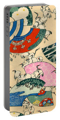 Vintage Japanese Illustration Of Fans And Cranes Portable Battery Charger