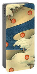 Vintage Japaneses Illustration Of Falling Snowflakes In An Abstract Winter Landscape Portable Battery Charger