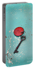 Vintage Key With Red Tag Portable Battery Charger by Jill Battaglia