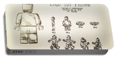 Vintage Lego Toy Figure Patent - Graphite Pencil Sketch Portable Battery Charger