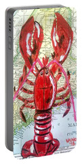 Vintage Map Maine Red Lobster Portable Battery Charger by Scott D Van Osdol