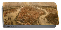 Vintage Map Of Manhattan New York City Nyc Birds Eye View Schematic Circa 1865 On Worn Distressed Canvas Portable Battery Charger
