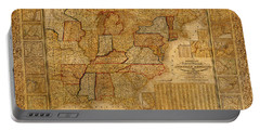 Vintage Map Of The United States Of America Usa Circa 1845 On Worn Distressed Parchment Portable Battery Charger