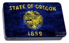 Vintage Oregon Flag Portable Battery Charger by Jon Neidert