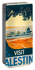 Vintage Palestine Travel Poster Portable Battery Charger by George Pedro