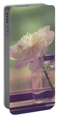 Portable Battery Charger featuring the photograph Vintage Peony Flower Still Life by Edward Fielding