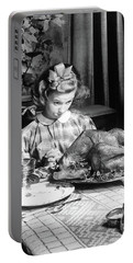 Vintage Photo Depicting Thanksgiving Dinner Portable Battery Charger