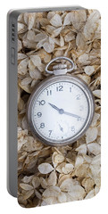 Portable Battery Charger featuring the photograph Vintage Pocket Watch Over Dried Flowers by Edward Fielding