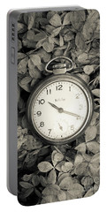 Portable Battery Charger featuring the photograph Vintage Pocket Watch Over Flowers by Edward Fielding