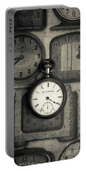Portable Battery Charger featuring the photograph Vintage Pocket Watch Over Old Clocks by Edward Fielding