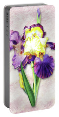Portable Battery Charger featuring the painting Vintage Purple Watercolor Iris by Irina Sztukowski