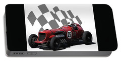 Vintage Racing Car And Flag 3 Portable Battery Charger by John Colley