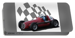 Vintage Racing Car And Flag 6 Portable Battery Charger by John Colley