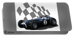 Vintage Racing Car And Flag 8 Portable Battery Charger by John Colley