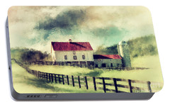 Portable Battery Charger featuring the digital art Vintage Red Roof Barn by Lois Bryan