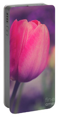 Portable Battery Charger featuring the photograph Vintage Red Tulip Flower by Edward Fielding