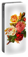 Portable Battery Charger featuring the digital art Vintage Rose I by Kim Kent