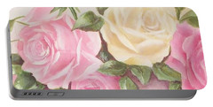 Vintage Roses Shabby Chic Roses Painting Print Portable Battery Charger by Chris Hobel