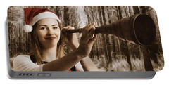 Vintage Santa Elf Searching For Christmas Fun Portable Battery Charger by Jorgo Photography - Wall Art Gallery