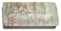 Vintage Shabby Chic Floral Faded Birds Design Portable Battery Charger