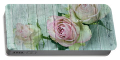 Vintage Shabby Chic Pink Roses On Wood Portable Battery Charger