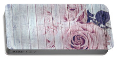 Vintage Shabby Chic Dusky Pink Roses On Blue Wood Effect Background Portable Battery Charger