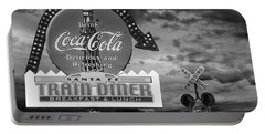 Vintage Sign In Black And White For A Classic Train Diner Portable Battery Charger