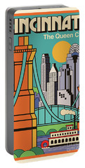 Vintage Style Cincinnati Travel Poster Portable Battery Charger
