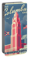 Vintage Style Columbus Travel Poster Portable Battery Charger
