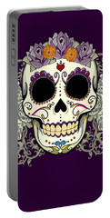 Vintage Sugar Skull And Flowers Portable Battery Charger by Tammy Wetzel